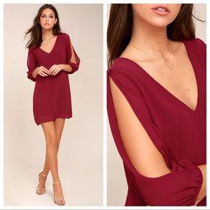 Lulu's Wine Red Long Cutout Sleeve Dress